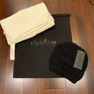 Ivory knit scarf and black knit beanie/hat